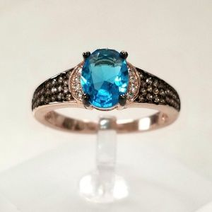 Blue Champagne Pave Ring